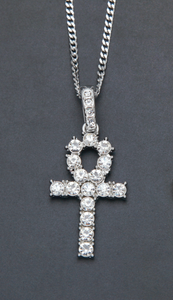 Silver Diamond Ankh Key Necklace with Cuban Link Chain