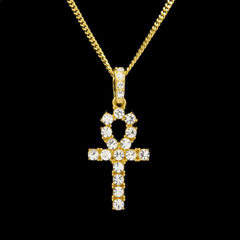18k Gold Diamond Ankh Key Necklace with Cuban Link Chain