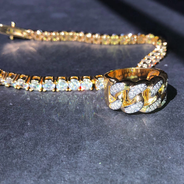 14k Gold Diamond Cuban Link Ring