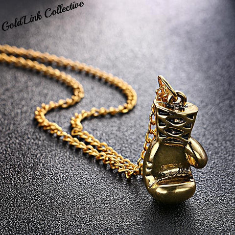 18k Gold/Silver Boxing Glove Necklace