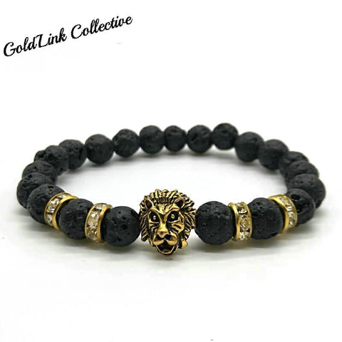 Handmade Lava Rock Lion Head Bracelet