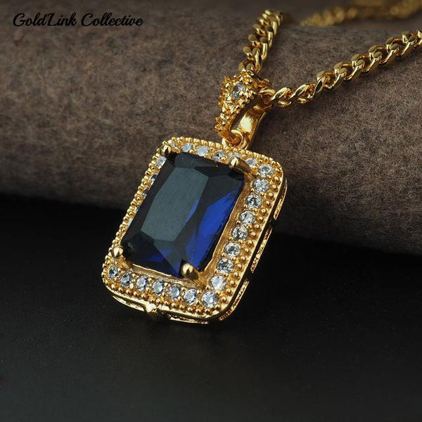 14k Gold Diamond Outlined Gem Necklace