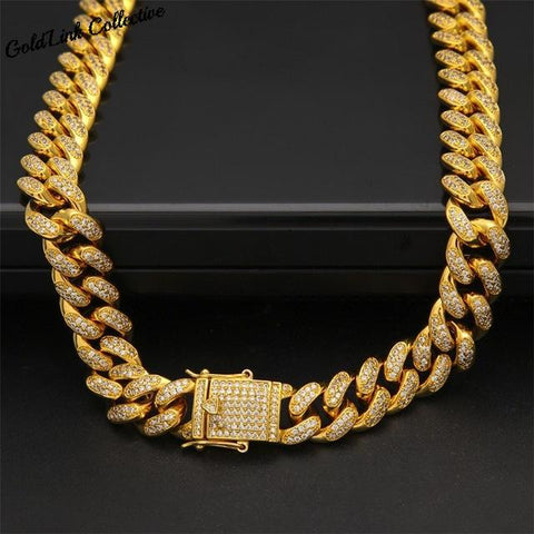 18k Gold 13mm Diamond Cuban Link Chain
