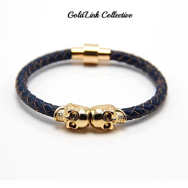 Gold Skulls Leather Bracelet