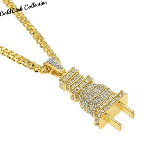 18k Gold/Silver Diamond Plug Necklace
