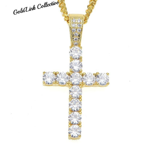 14k Gold Diamond Cross Necklace