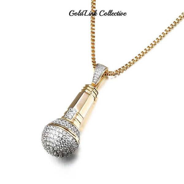 14k Gold Iced out Mic Pendant