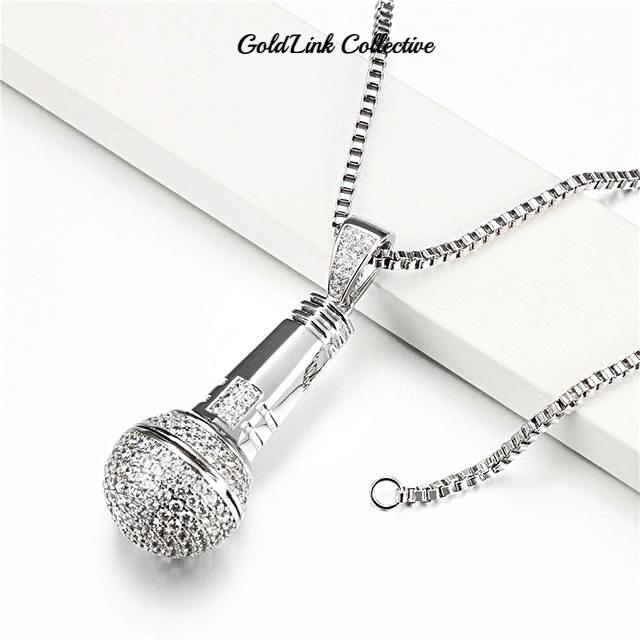 Silver Iced out Mic Pendant