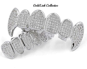 Silver Micropave Vampire Grill Set