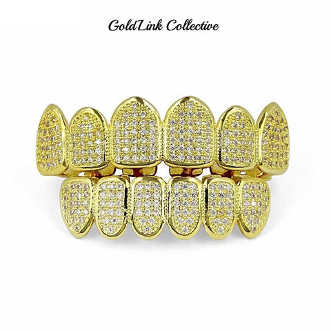 14k Gold Micropave Grill Set