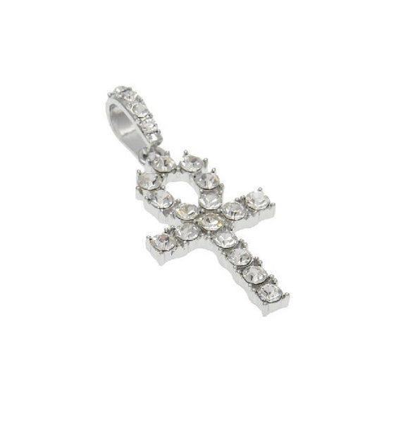Silver Diamond Ankh Key Necklace with Diamond Tennis Chain