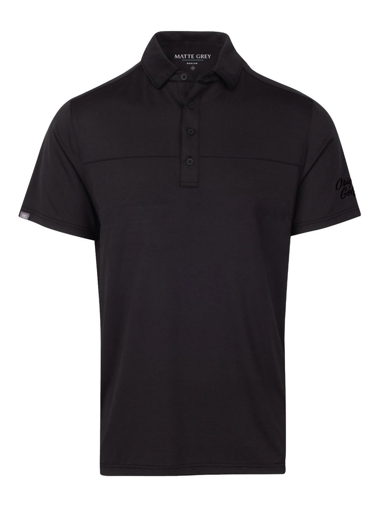 MATTE GREY MENS POLO - REGIMENT 2.0 - BLACK