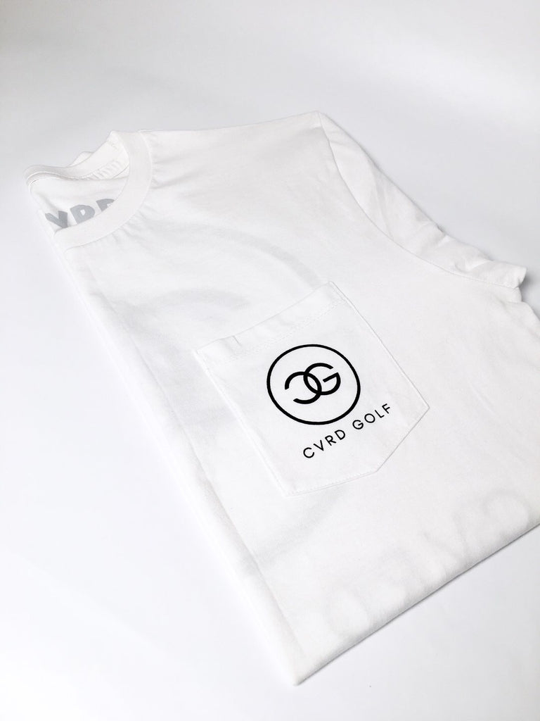 CVRD GOLF FANCY LOGO POCKET TEE - WHITE