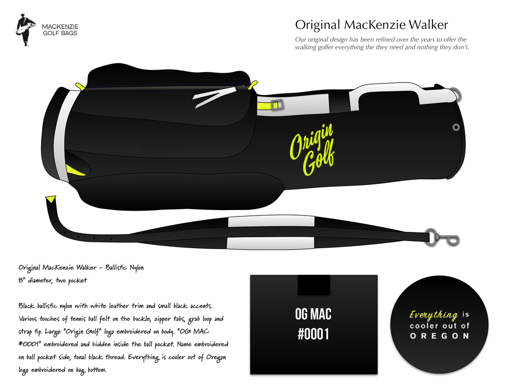 ORIGIN GOLF X MACKENZIE BALLISTIC NYLON ORIGINAL WALKER GOLF BAG