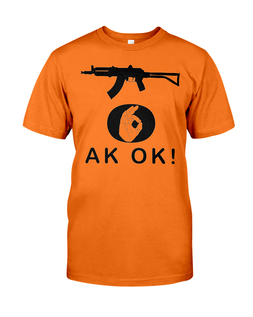 AK OK Hand black rifle 2nd Amendment t-shirt burnt orange