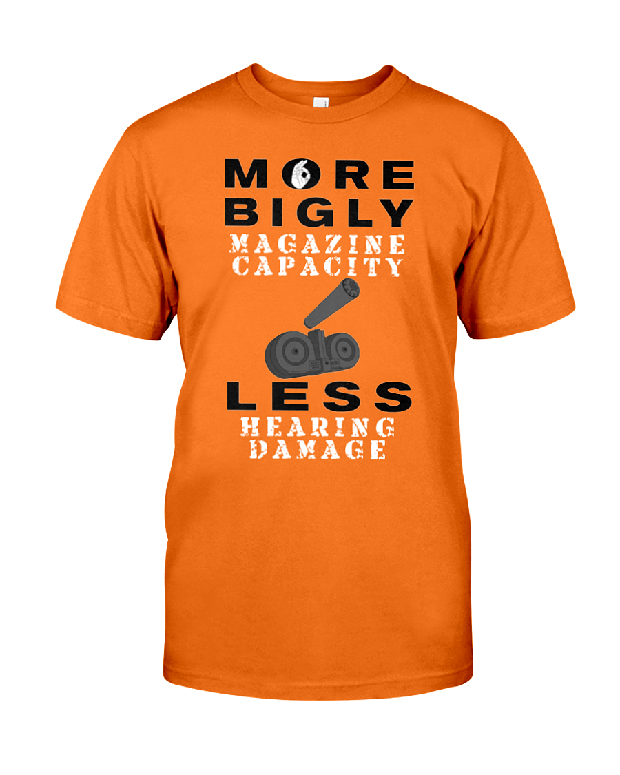 Bigly Capacity Mags & Hearing Protection Act men's t-shirt orange