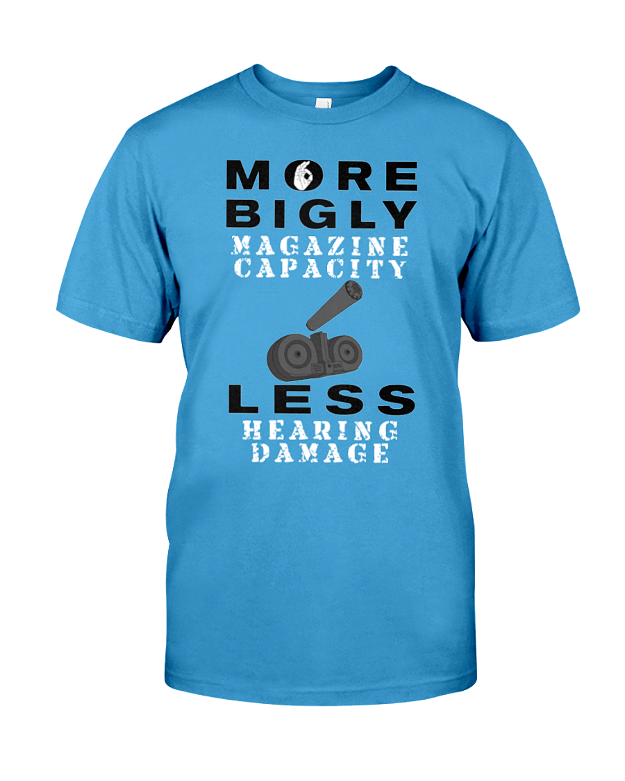 Bigly Capacity Mags & Hearing Protection Act men's t-shirt light blue