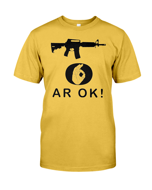 AR OK Black Rifle men's t-shirt gold