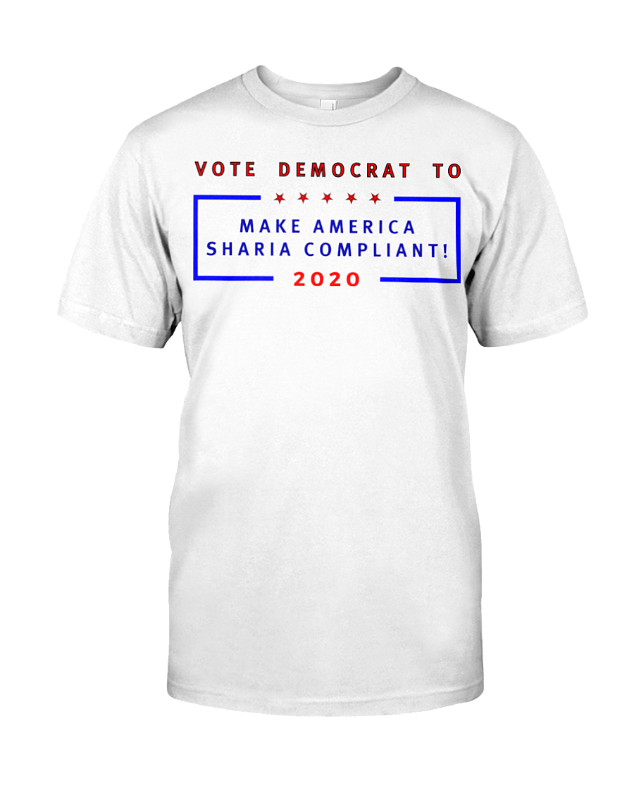 Vote Democrat to Make America Sharia Compliant men's t-shirt white