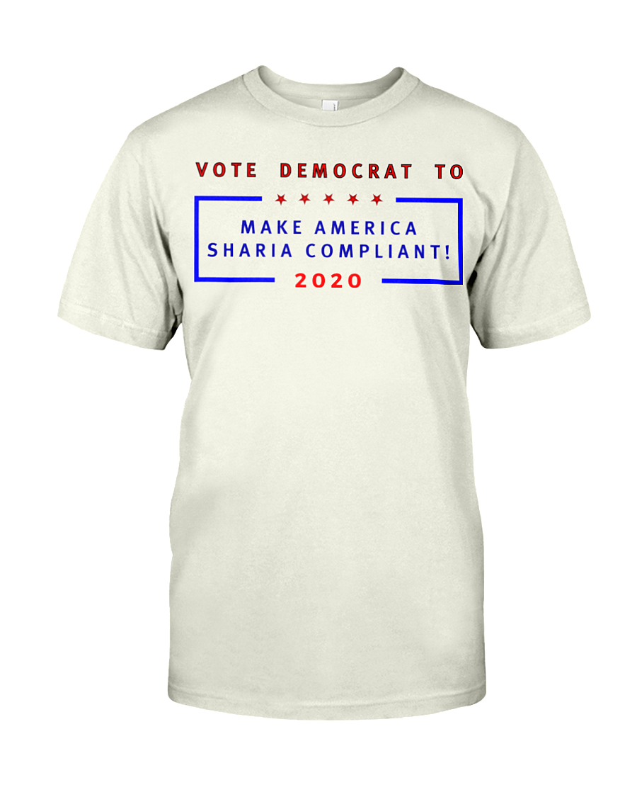 Vote Democrat to Make America Sharia Compliant men's t-shirt natural