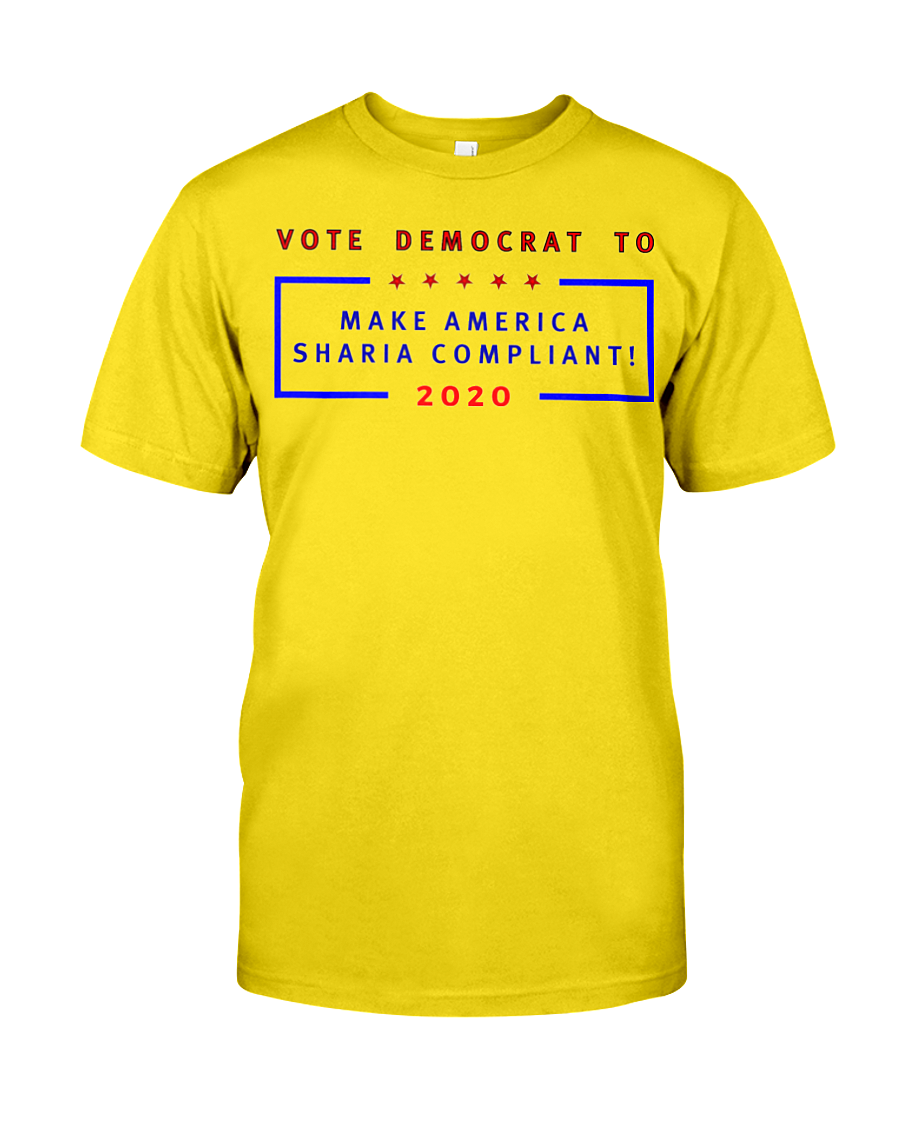 Vote Democrat to Make America Sharia Compliant men's t-shirt yellow