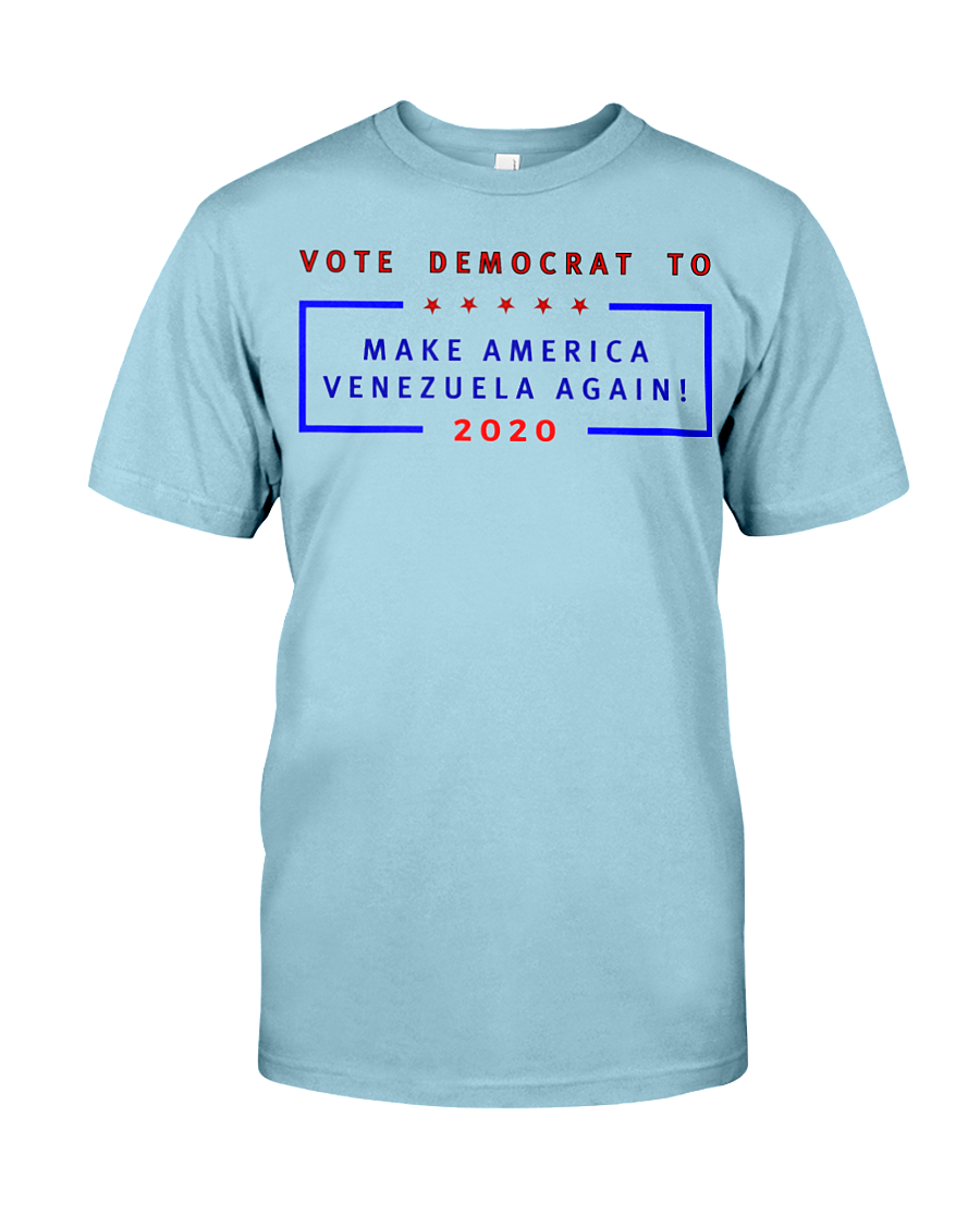 Vote Democrat to Make America Venezuela Again men's t-shirt blue