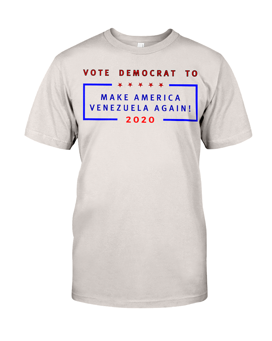Vote Democrat to Make America Venezuela Again men's t-shirt silver