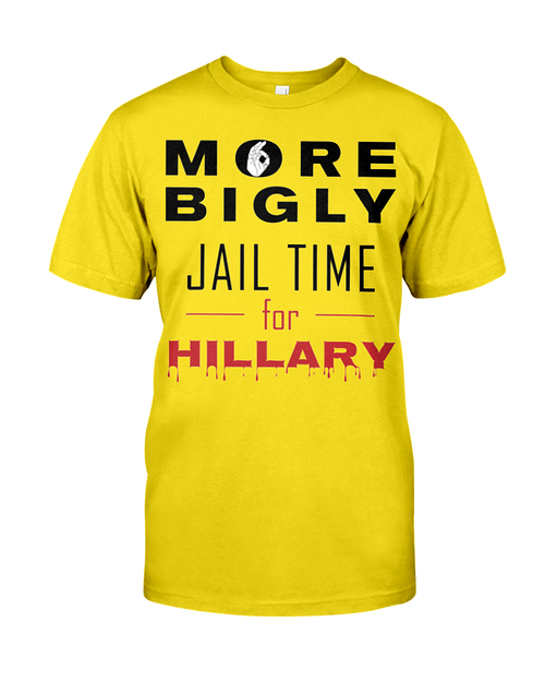 Hillary for Prison with Jail Time for Hillary men's t-shirt yellow
