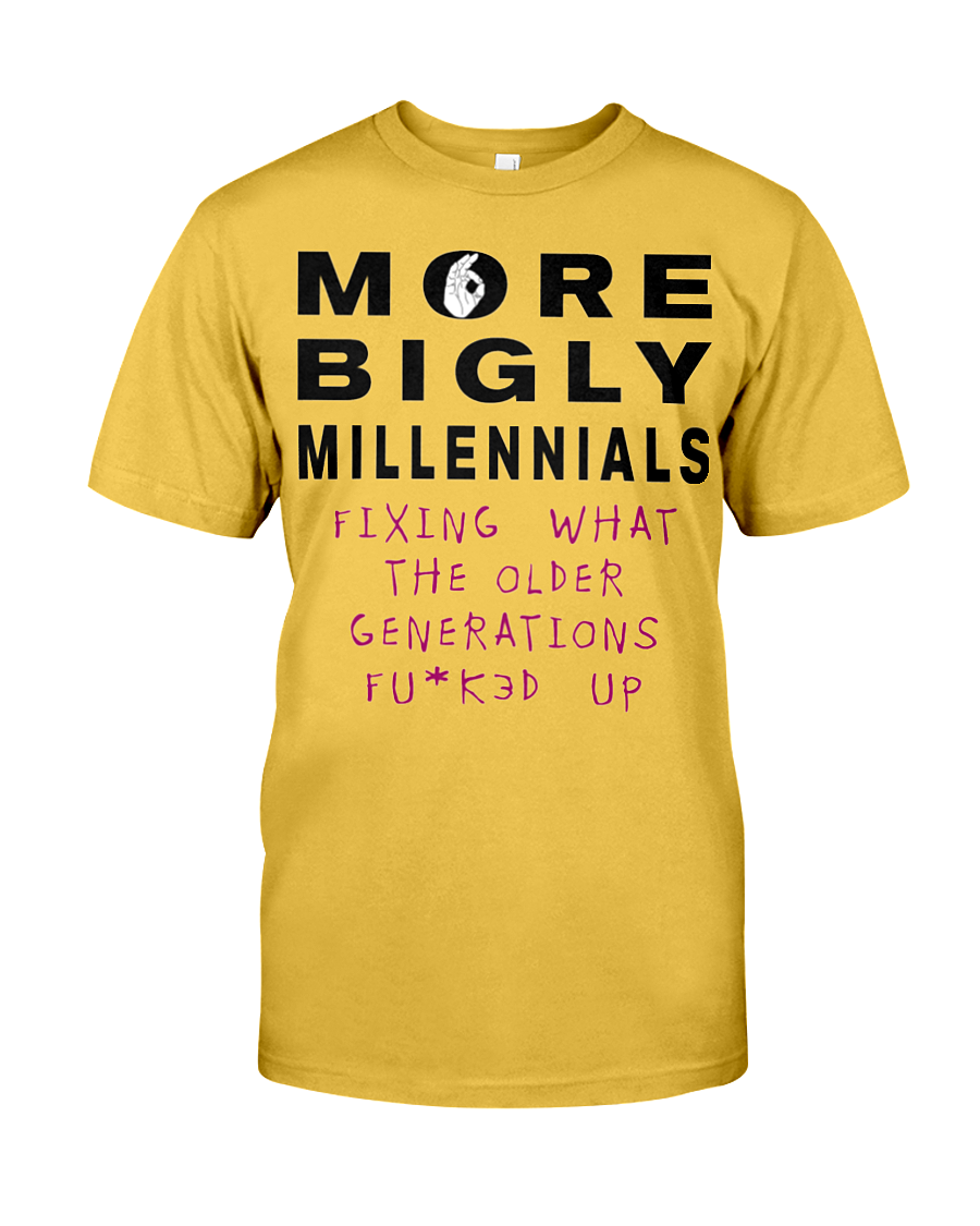 More Bigly Millennials men's t-shirt gold