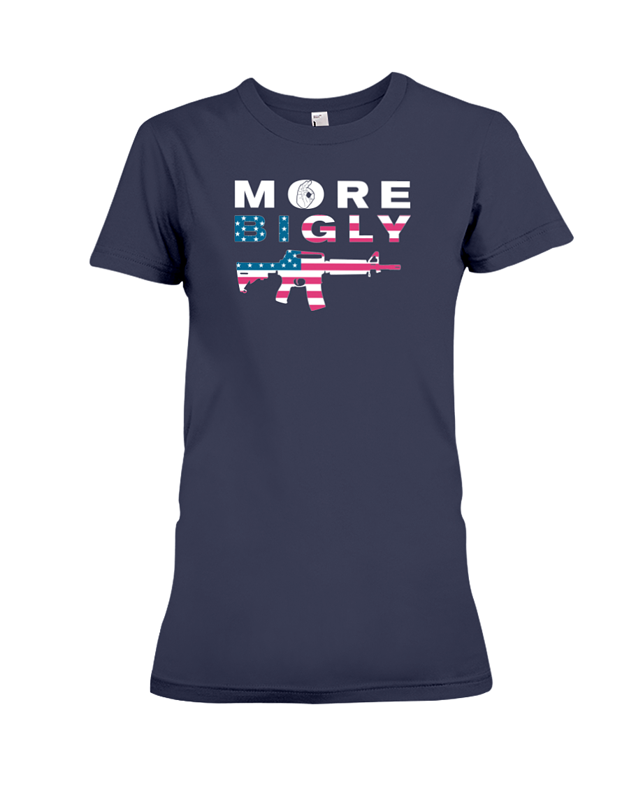MAGA Bigly AR-15 Flag Rifle women's t-shirt navy