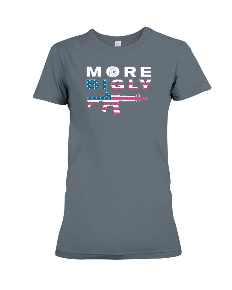 MAGA Bigly AR-15 Flag Rifle women's t-shirt dark heather