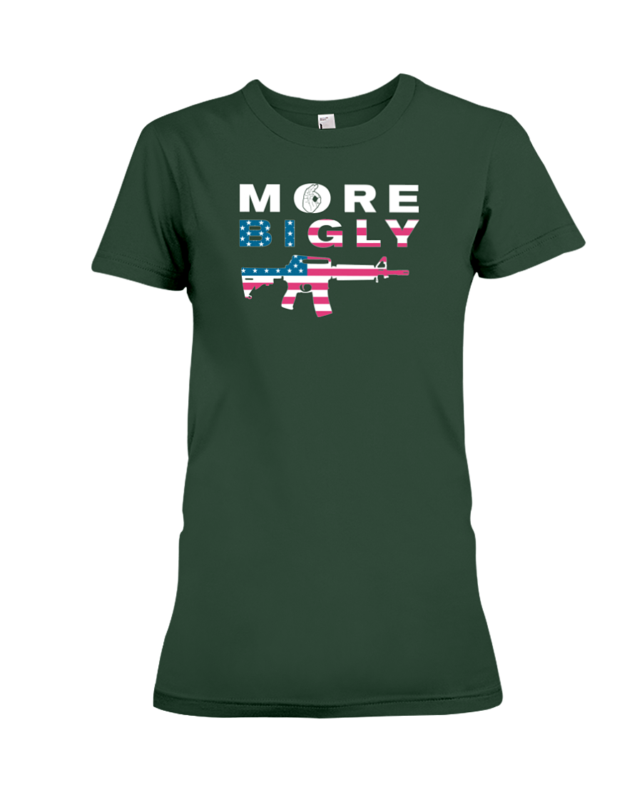 MAGA Bigly AR-15 Flag Rifle women's t-shirt forest green