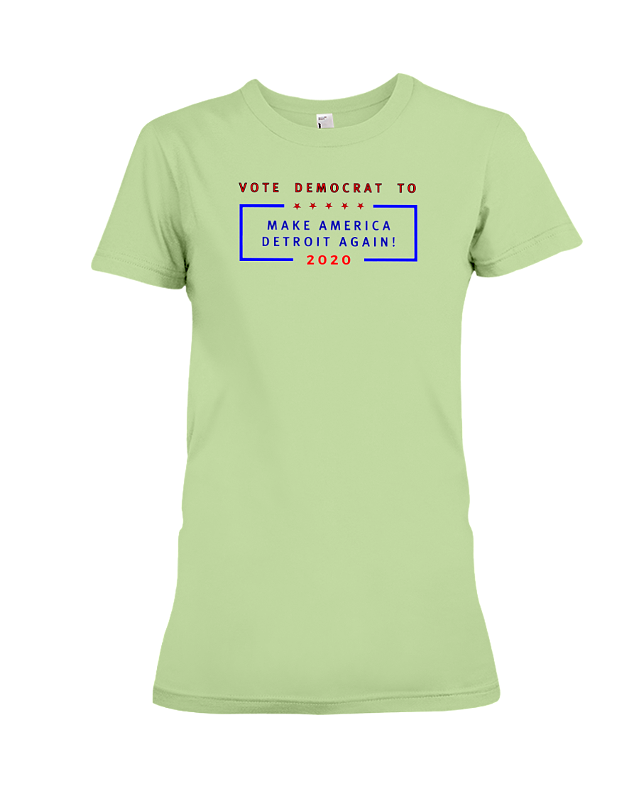 Make America Detroit Again women's t-shirt mint green