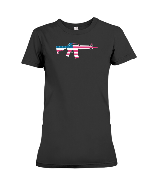 MAGA rifle AR-15 flag women's t-shirt black