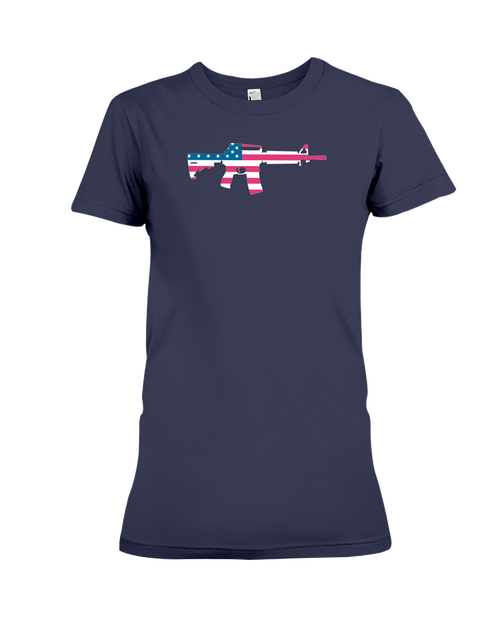 MAGA rifle AR-15 flag women's t-shirt navy