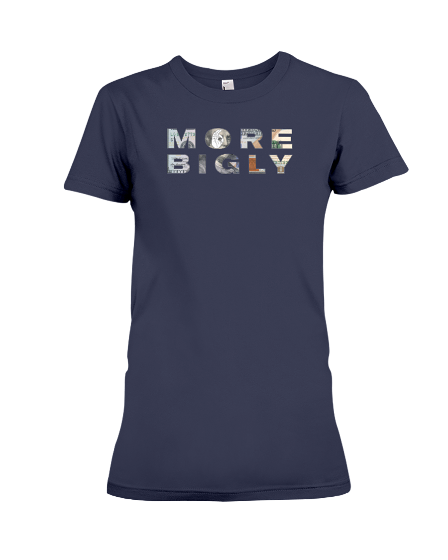 More Bigly Economy $100 dollar bill women's t-shirt navy blue
