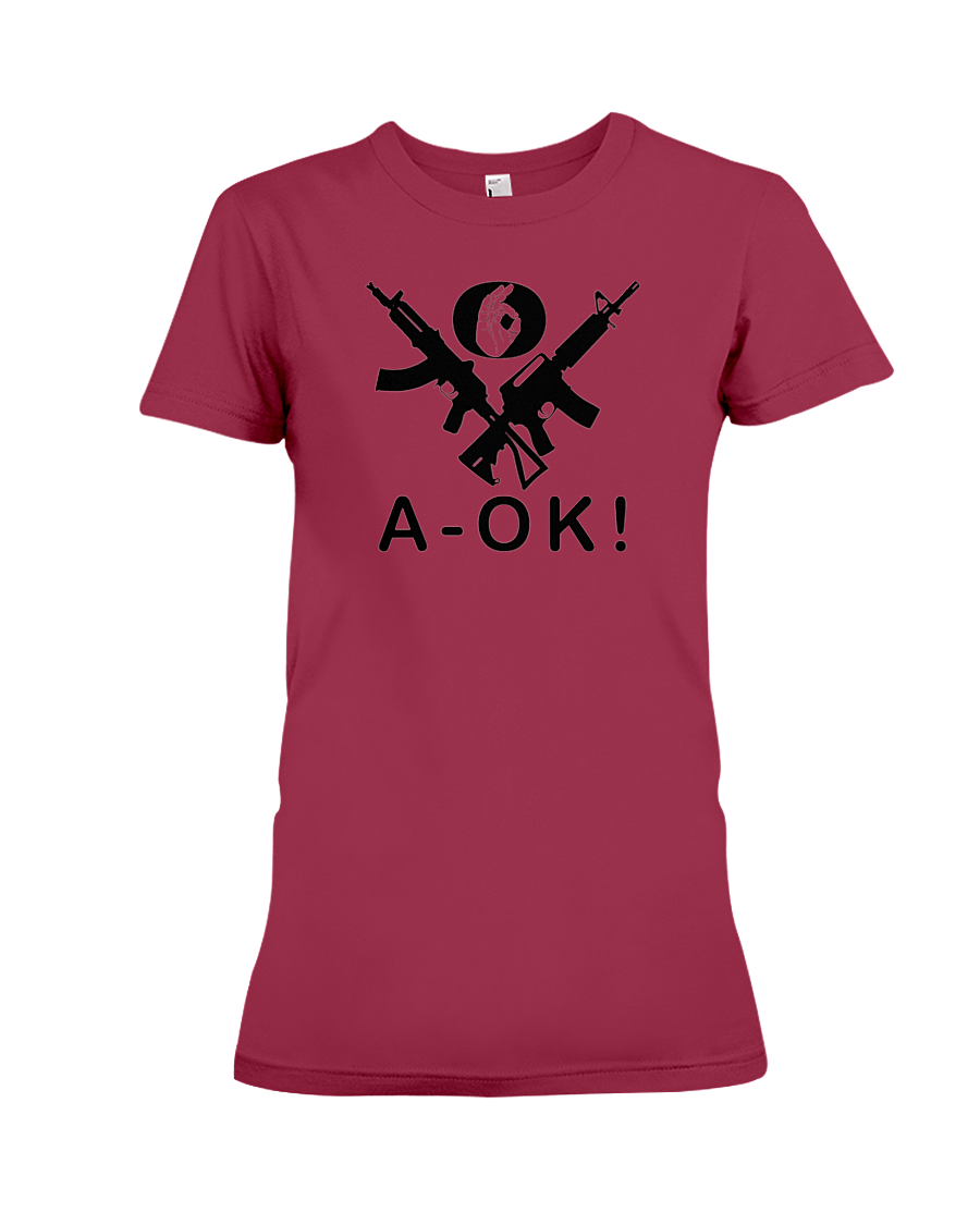 A-OK Hand Black Rifles women's t-shirt cardinal red