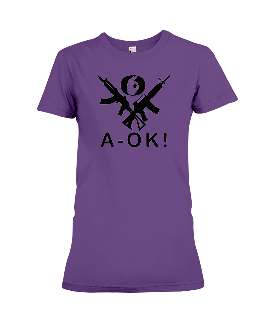 A-OK Hand Black Rifles women's t-shirt purple