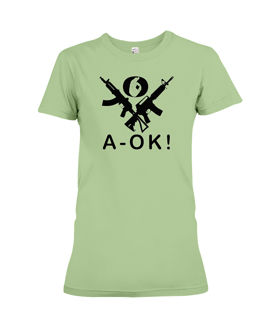 A-OK Hand Black Rifles women's t-shirt pistachio