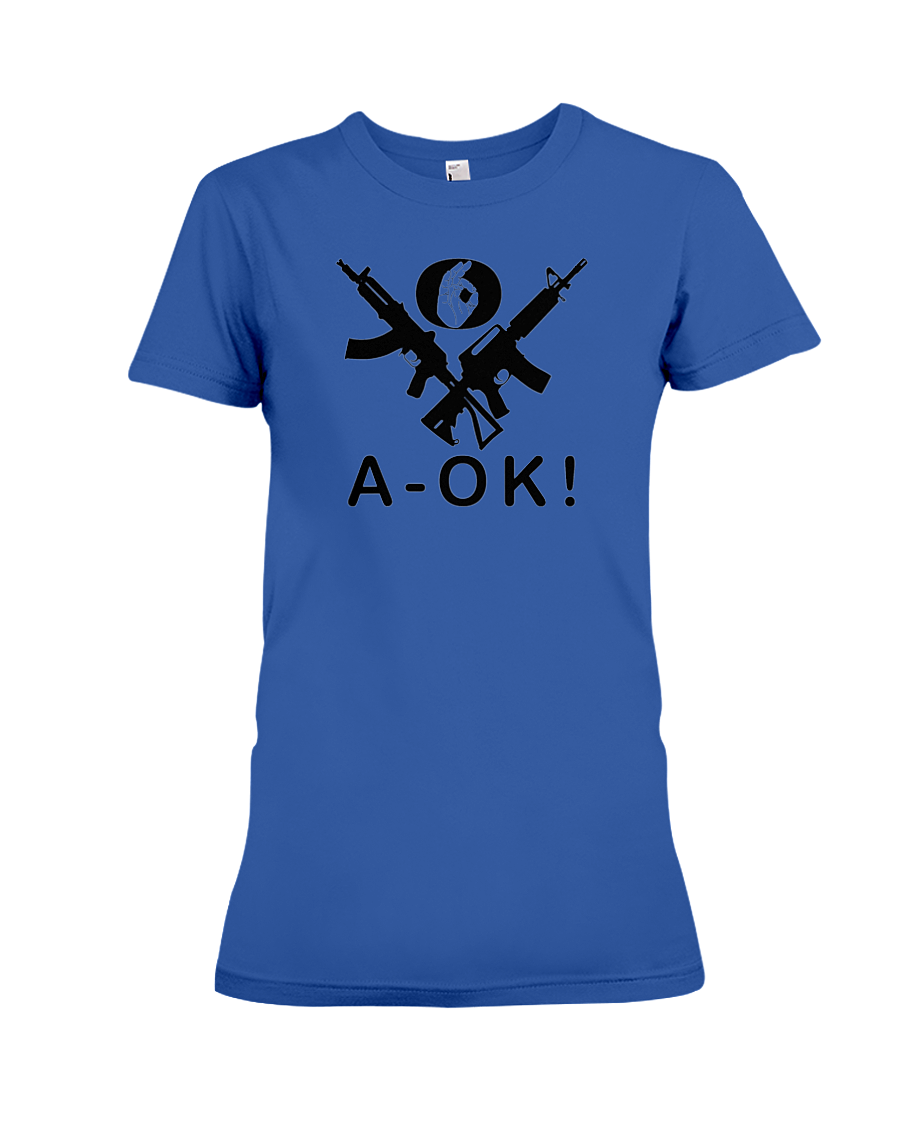 A-OK Hand Black Rifles women's t-shirt royal blue