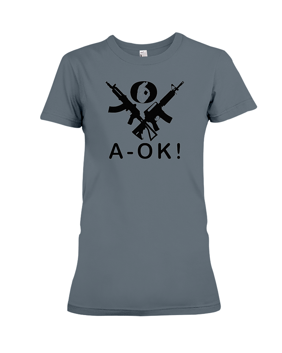 A-OK Hand Black Rifles women's t-shirt heather grey