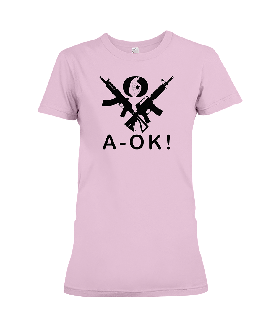 A-OK Hand Black Rifles women's t-shirt pink