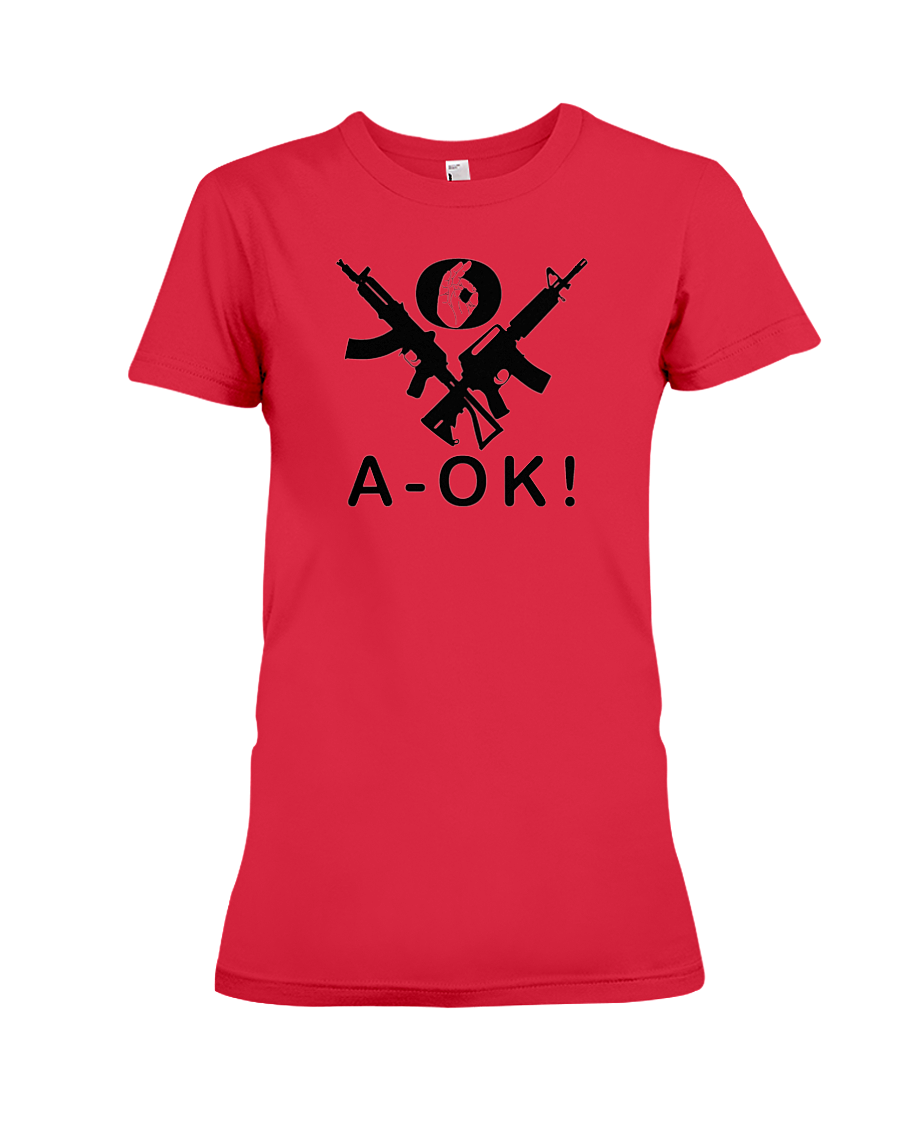 A-OK Hand Black Rifles women's t-shirt red
