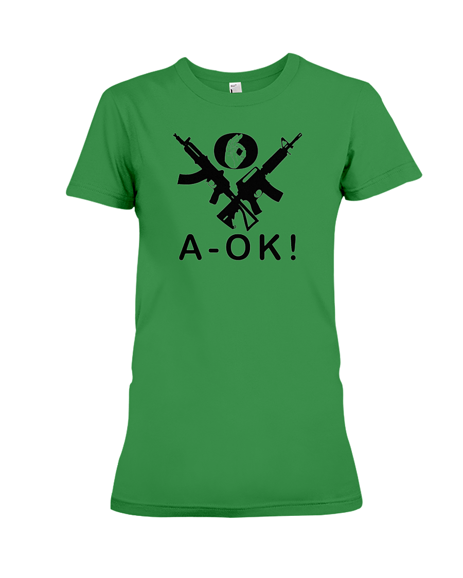 A-OK Hand Black Rifles women's t-shirt green