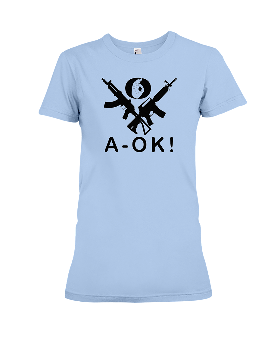 A-OK Hand Black Rifles women's t-shirt light blue