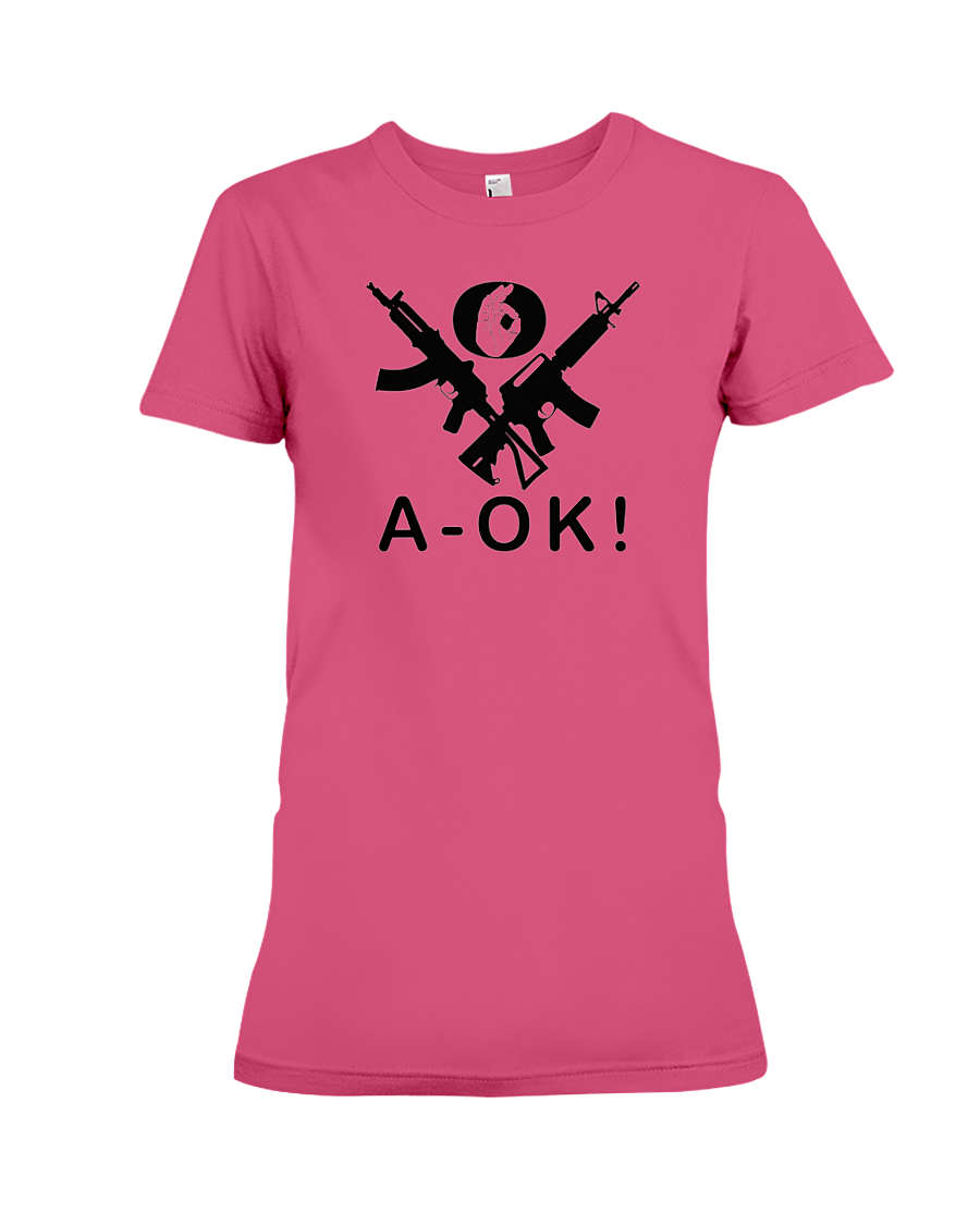 A-OK Hand Black Rifles women's t-shirt heliconia