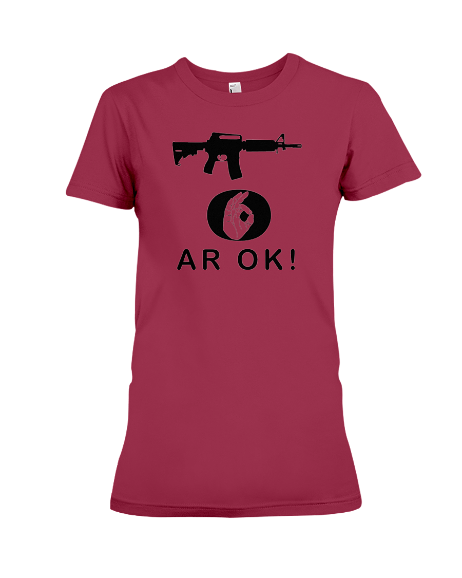 AR OK Black Rifle women's t-shirt cardinal red