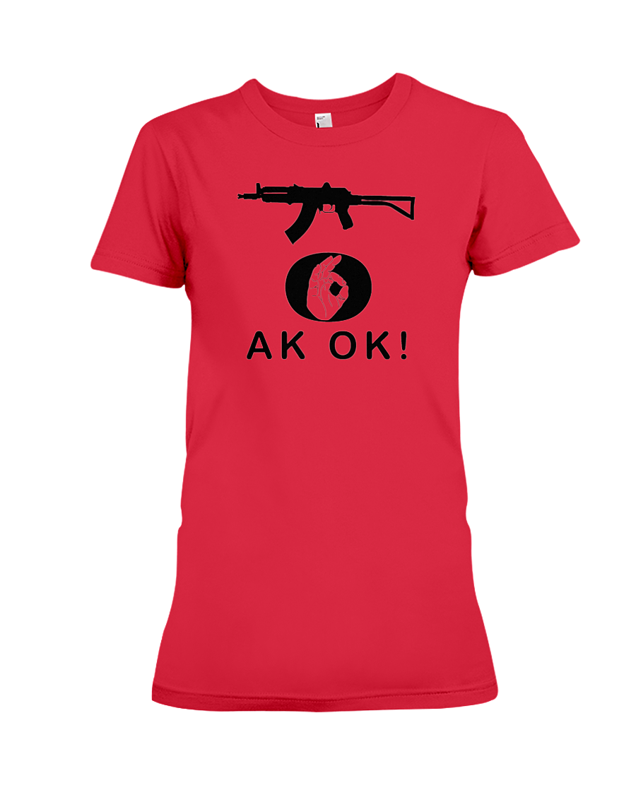 AK OK Black Rifle women's t-shirt red