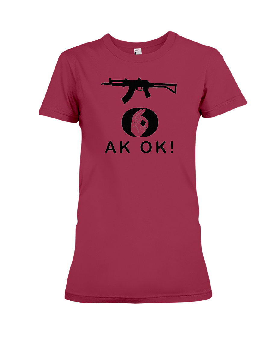 AK OK Black Rifle women's t-shirt cardinal red