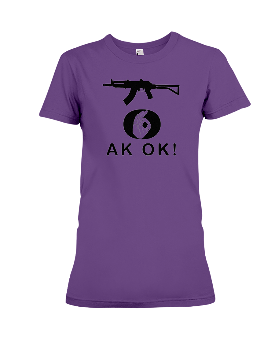 AK OK Black Rifle women's t-shirt purple